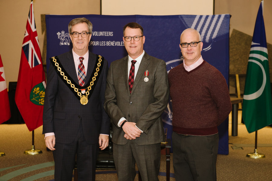 John Peters with Mayor Watson and Councillor Leiper