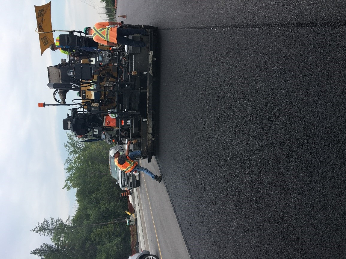 Placement of asphalt on West Hunt Club Road