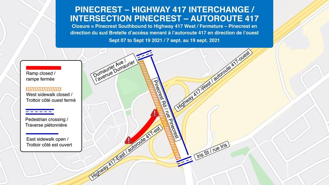 Map depicting Highway 417 on-ramp closure from southbound Pinecrest Road.