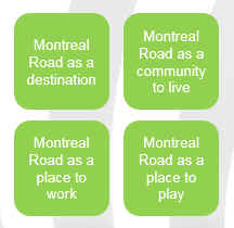 Montreal Road as a destination. Montreal Road as a community to live. Montreal Road as a place to work. Montreal Road as a place to play.