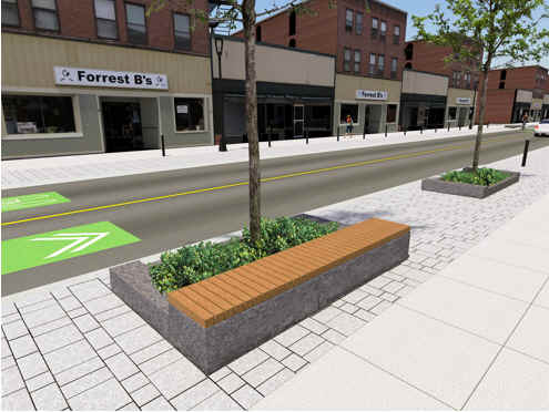 streetscaping elements, including benches along Elgin Street.