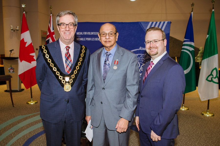 Dharam Rai with Mayor Watson and Councillor Blais