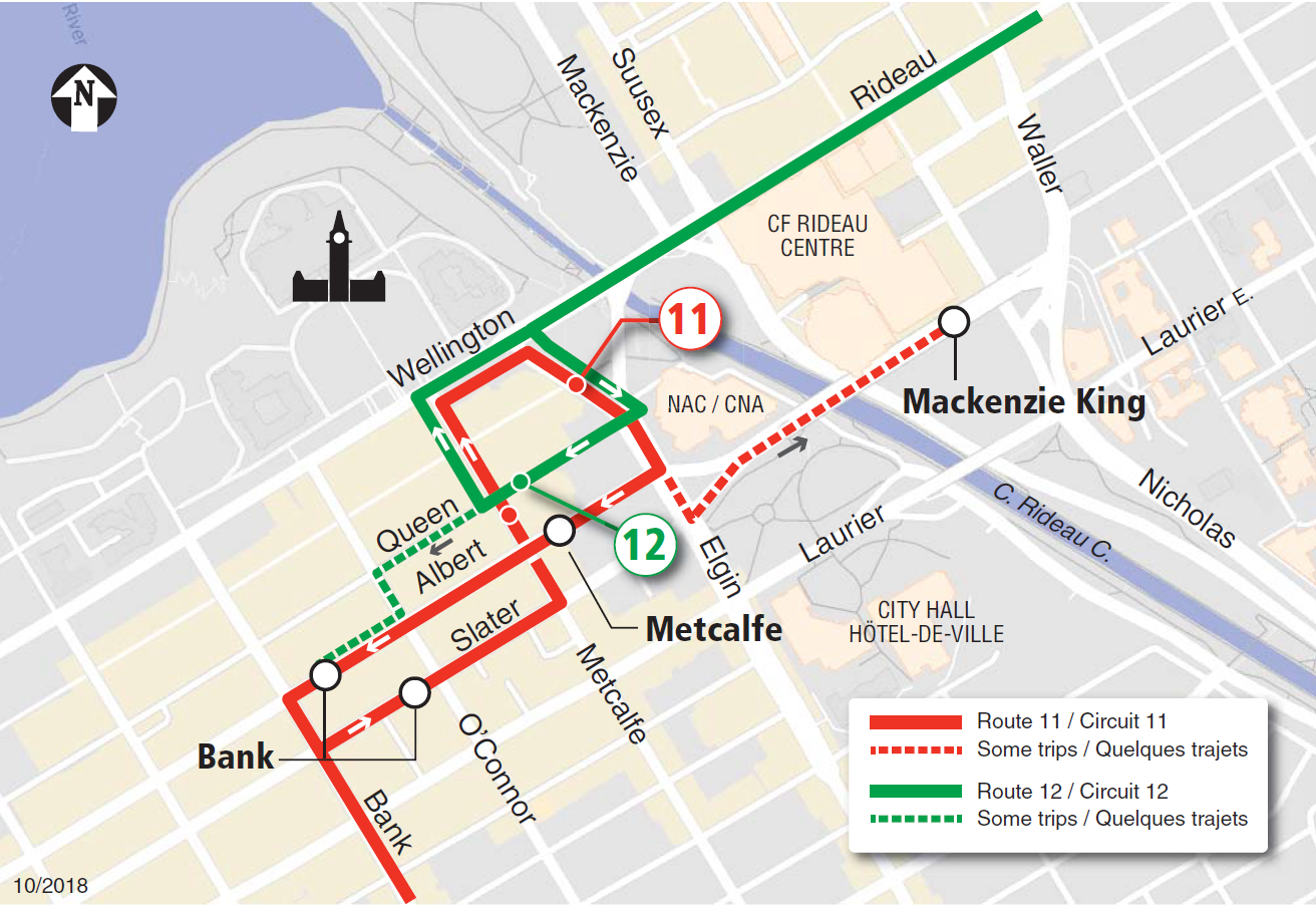 Revised downtown service for Routes 11 and 12