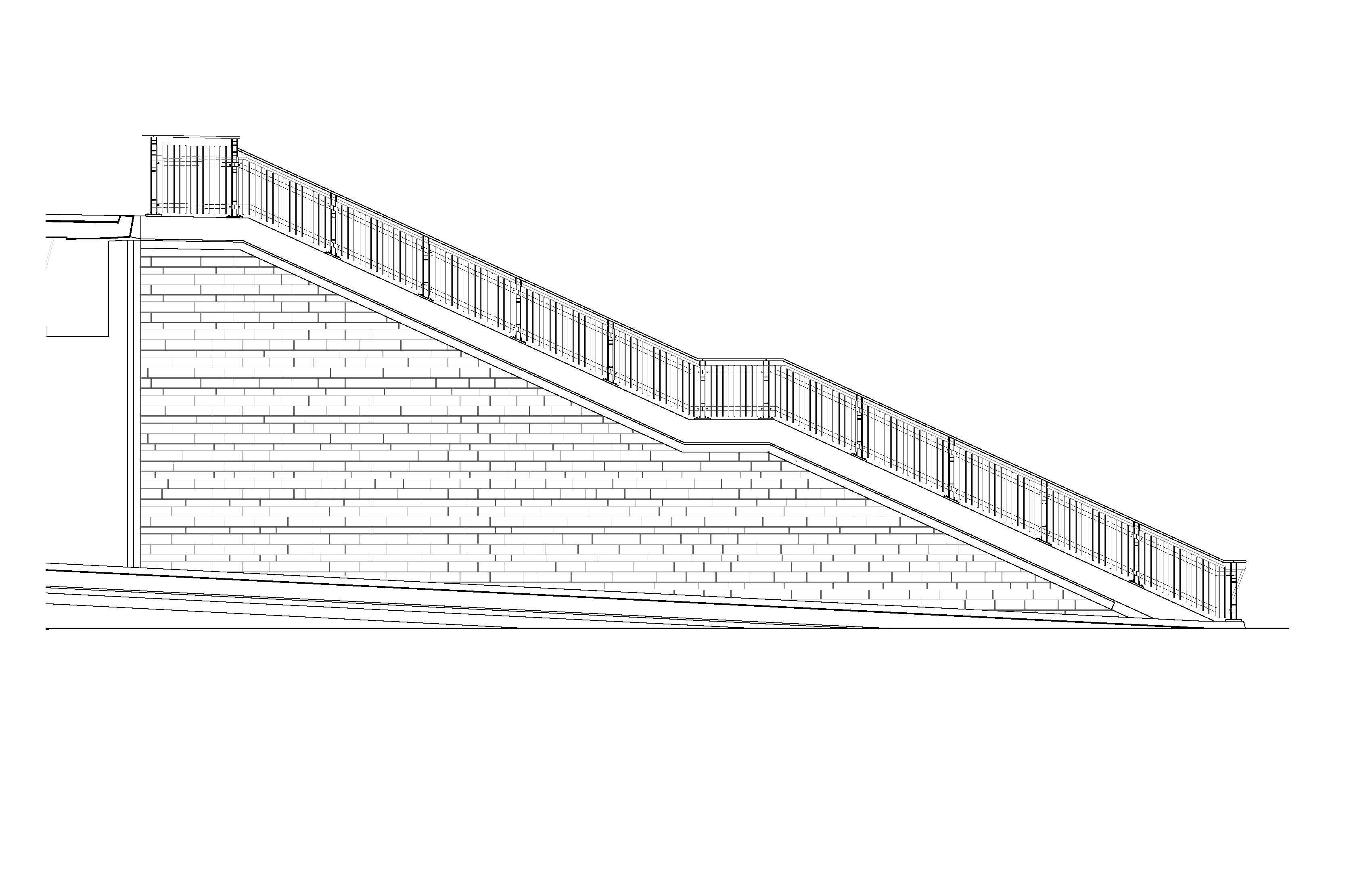 A rendering of the revised East stair railing detail.