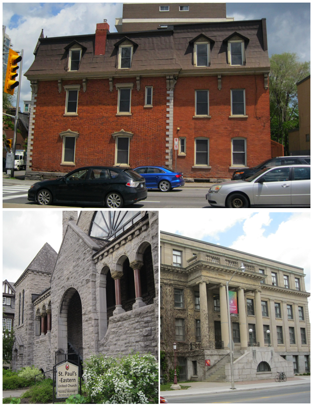 Several buildings in the HCD including St Paul's Eastern United Church and Tabaret Hall.