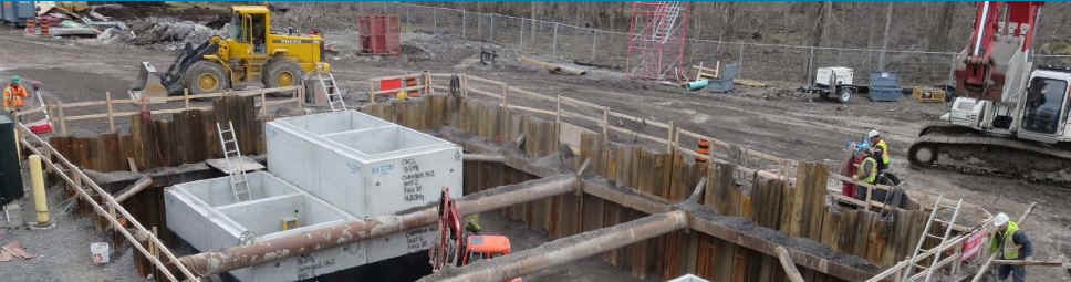The construction of large sanitary maintenance hole structures at a similar project installed at Hazeldean pump station.