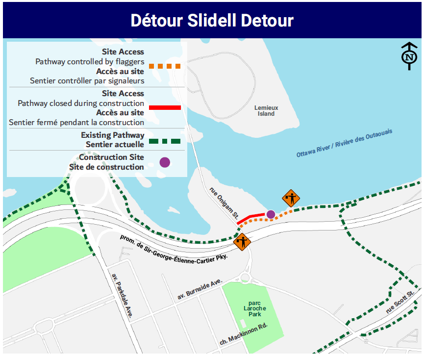 The Slidell detour showing the section of the pathway to be controlled by flaggers.