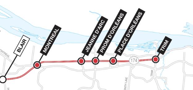 Plan du prolongement vers l'est du réseau de train léger O-Train