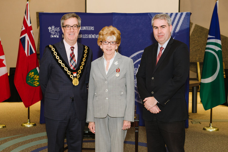 Kay Stanley with Mayor Watson and Councillor Brockington