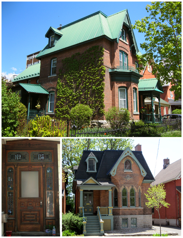 Red brick houses featuring design elements such as gardens, stained glass windows, carved doors and pointed arch openings.