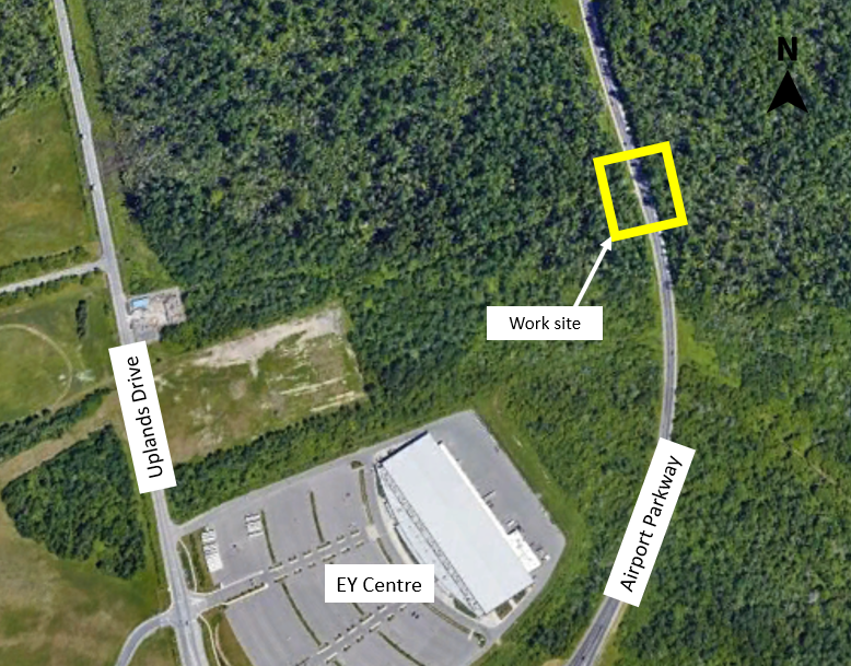 A map showing the location of the work site at the Airport Parkway Rail Bridge, located on the Airport Parkway northeast of the EY Centre