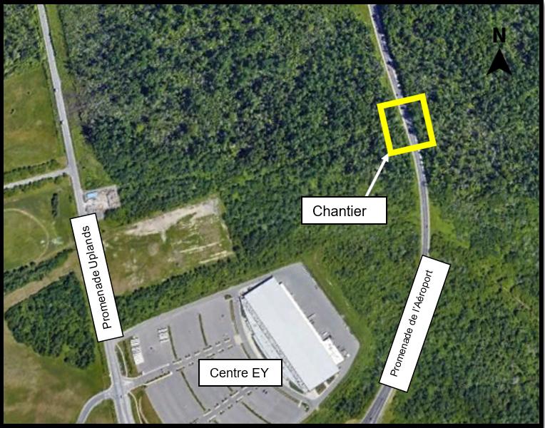 une carte montrant la zone de travail sur le promenade de l'Aéroport à l'emplacement du pont ferroviaire
