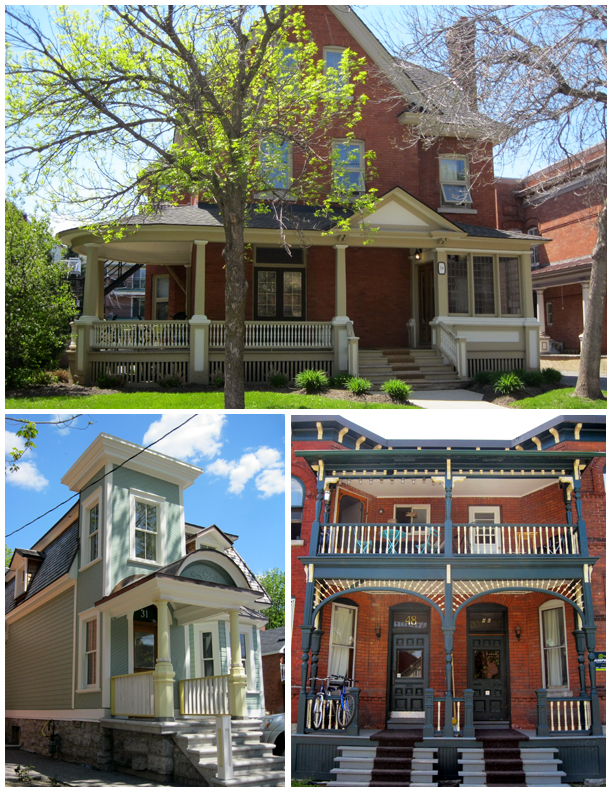 A mix of houses in the HCD, including Simard House, a Second Empire wooden house.