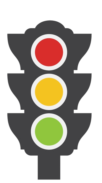 Image of a traffic light representing trial colour-rating system for food safety inspection results