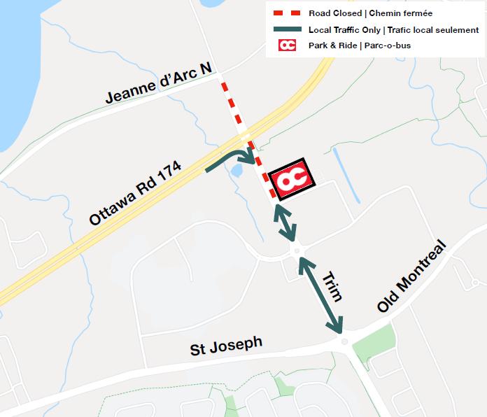 Map depicting Trim Road closure and detour