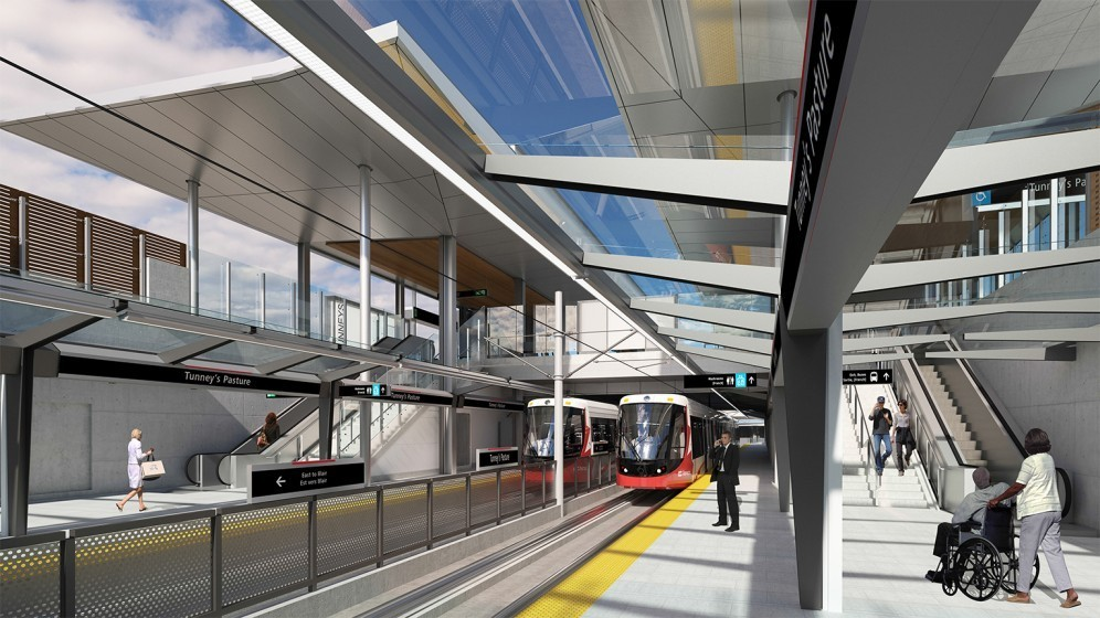 Rendering of Tunney's Pasture Station