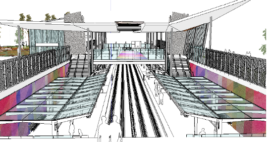 Rendering of public art at Tunney's Pasture Station