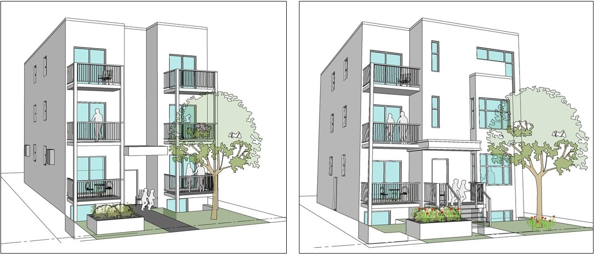 Two illustrations of low rise apartment buildings