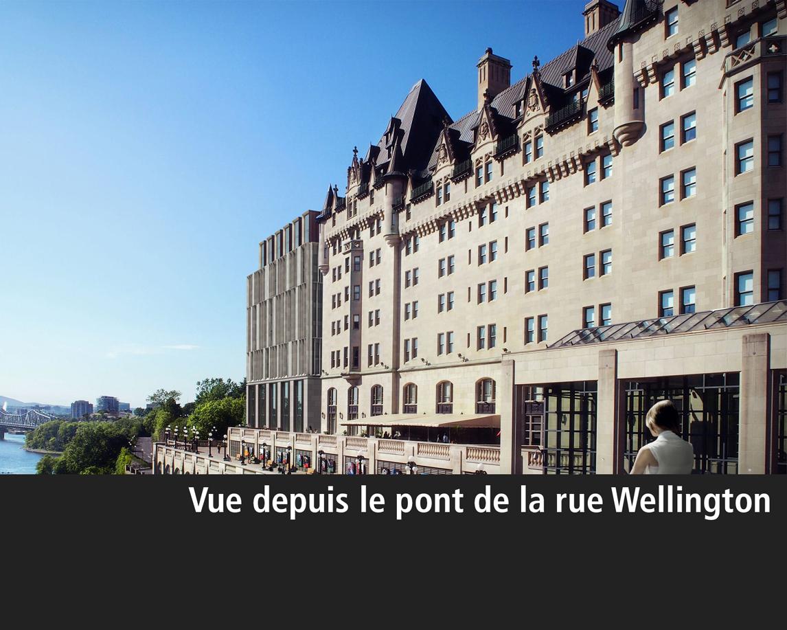 Rendu architectural de l'agrandissement de l'hôtel Château Laurier vu de la Place de la Confédération