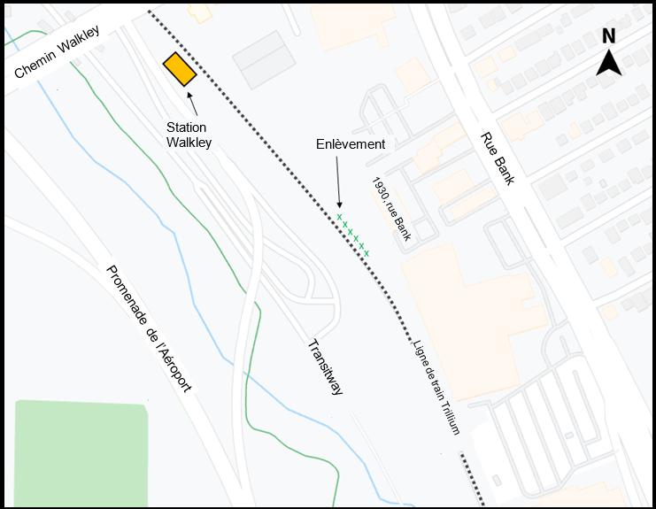 Emplacement de l'enlèvement des arbres et de la relocalisation des matières argileuses excédentaires sur le chantier situé au sud de la nouvelle station Walkley