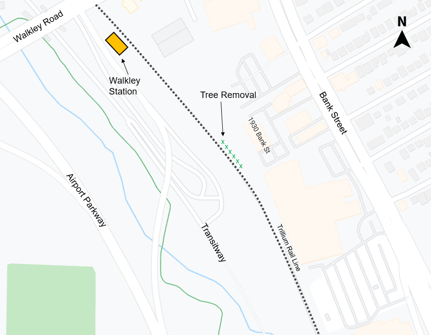 Map depicting tree removals at the future Stage 2 Walkley LRT Station, starting on September 7.
