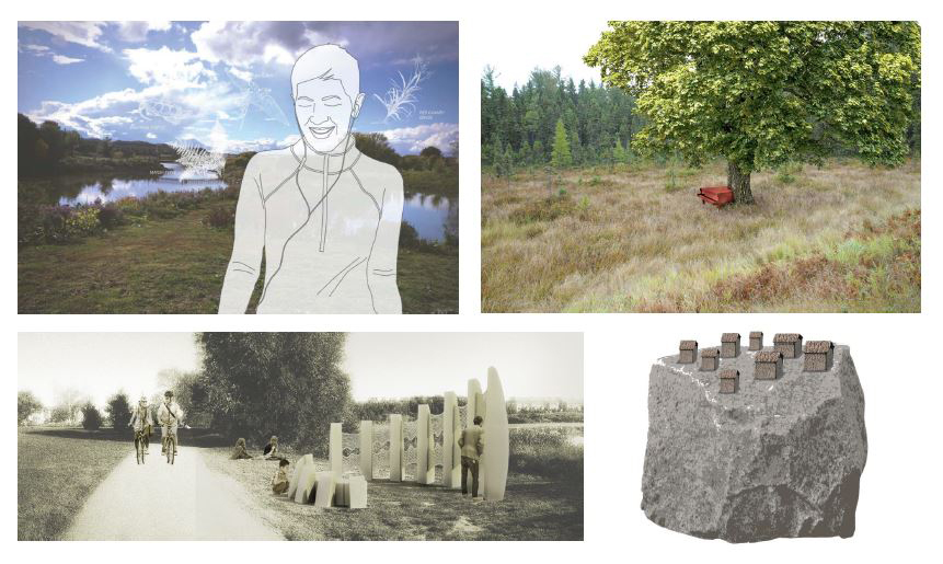 Top right: artwork proposal by Grimm Pictures Inc., top left: artwork proposal by Brandon Vickerd, bottom right: artwork proposal by Bluff Studio, bottom left: artwork proposal by Simon Frank