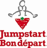 Child jumping over logo