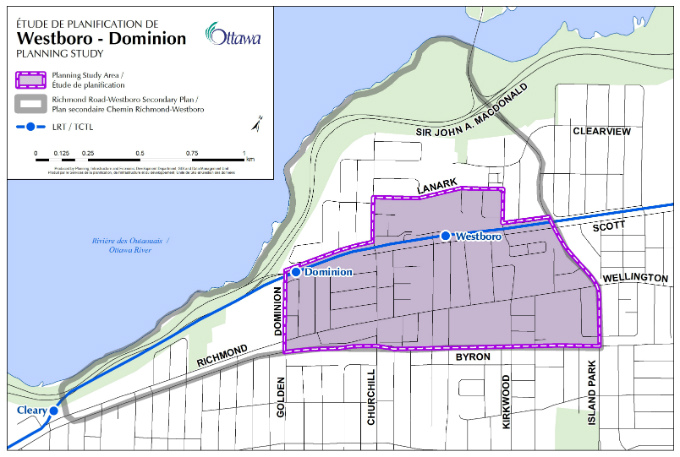 This map shows the Westboro-Dominion Planning Study Area, which is bounded by Island Park Drive to the east; Byron Avenue to the south; Dominion Street to the west; and the Transitway and Lanark Avenue to the north.