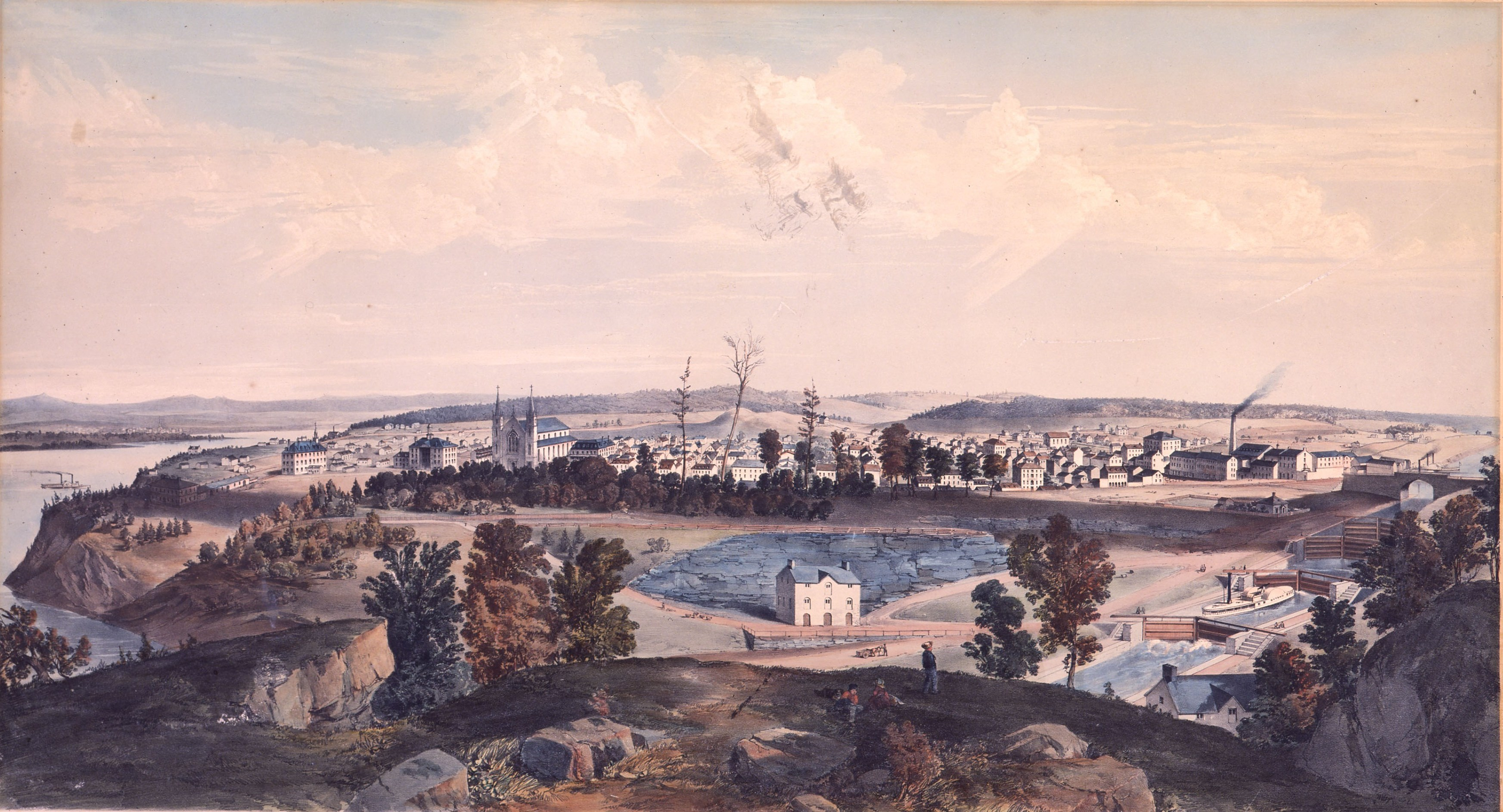 Ottawa City, Canada West. (Late Bytown). View of the Uppertown, looking up the Ottawa River, from Government Hill in 1855. Artist Edwin Whitefield.