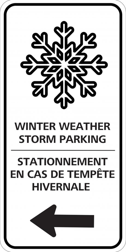 Winter weather storm parking sign
