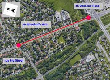 Location of work on Woodroffe Ave. between Iris St. and Baseline Rd.