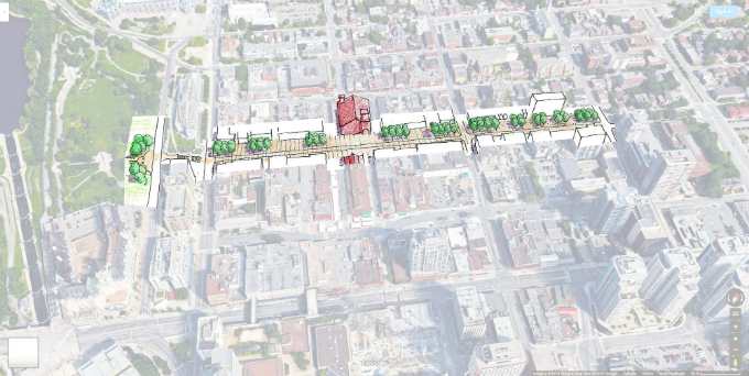Drawing of York Street with a wide, linear public space along the north side.