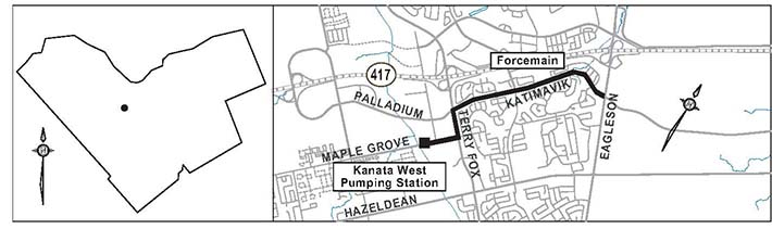 The illustration shows a map of South Kanata and Kanata West with the location of the Pump Station on Maple Grove Road marked along with the route of the forcemains from the Pump Station east on Maple Grove Road, north of Terry Fox Drive, and east on Katimavik Road to Eagleson Road.