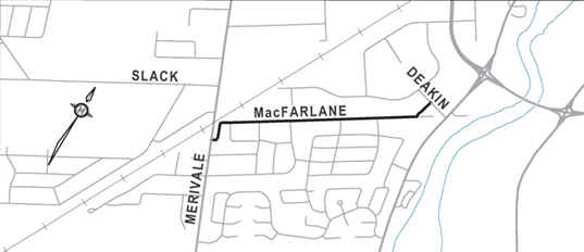 Site location map showing the limitations of the project on MacFarlane Road between Merivale Road and Deakin Street