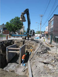 Photograph of roadway excavation and construction on an Ottawa area street