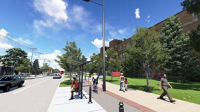 3D rendering of Preliminary Preferred Design looking north in front of St. Paul University