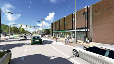 3D rendering of Preliminary Preferred Design looking south towards Hazel Street