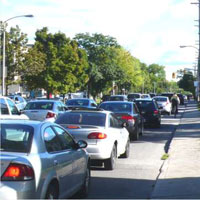 Photograph of mixed-traffic conditions on Main Street.