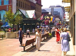 Sparks Street is a lively pedestrian mall located within 200 metres of Ottawa's Transitway that offers a mix of transit-supportive uses that cater to both transit and non-transit users alike.