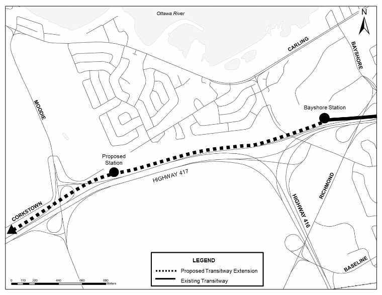 Map - West Transitway Extension - Bayshore Station to Moodie Drive