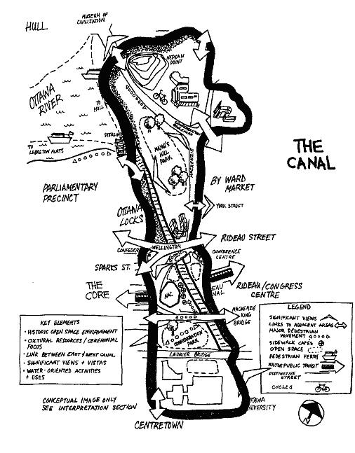Image conceptuelle du secteur distinctif du canal du Plan secondaire du secteur central