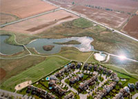 A constructed wetland in Kanata provides stormwater management and community pathways.