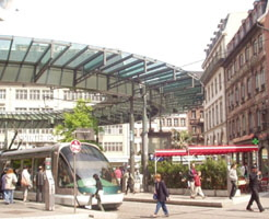 The Homme de Fer station area in Strasbourg, France is a hub of activity centered on many transit supportive uses that cater to local residents, transit users and tourist.
