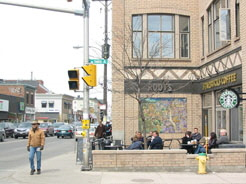 This outdoor patio in the Glebe helps to animate the streetscape for pedestrians.