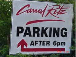 The Canal Ritz restaurant shares parking spaces with a community daycare facility, as their peak parking demands occur at different times of the day.