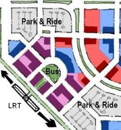 Transit-oriented development opportunities increase at park & ride stations when vehicle parking is located in close proximity, but not immediately adjacent to the station.