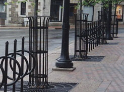 This consistent use of wrought iron design helps tie together the streetscape environment.
