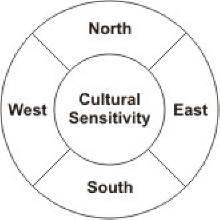 Cultural sensitivity chart with North, South, East and West quadrants.