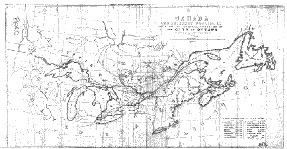 "City of Ottawa Archives / 81D77  Titre: ""Canada and Adjacent Provinces Shewing the Central Position of the City of Ottawa…"" Carte du Canada et des provinces adjacentes, qui montre la position centrale de la ville d'Ottawa, 1857  Date: 1857"