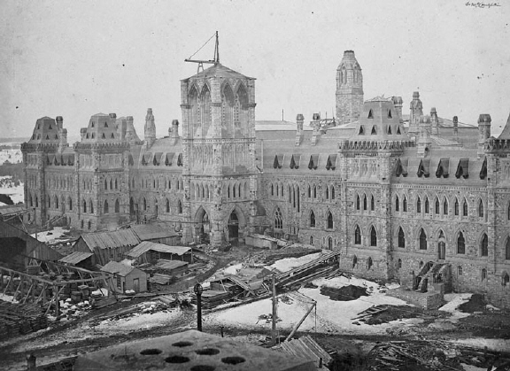 Library and Archives Canada / Samuel McLaughlin /   C-003039 / Copyright: Expired  Title: Centre Block, Parliament Buildings under construction  Date: [ca. 1865]